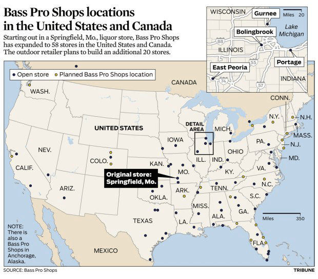 Bass Pro Shops Locations Map Bass Pro Shops locations (Chicago Tribune, 06.20.13) | Kori Rumore